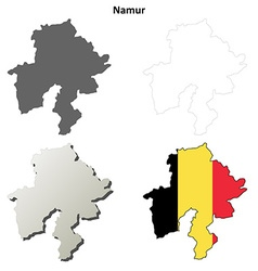 Namur outline map set - Belgian version vector image