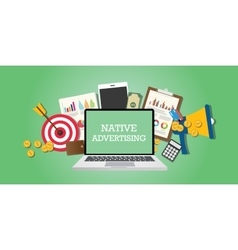 Native advertising concept with marketing media vector