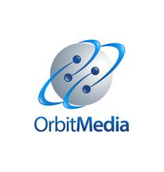 Orbit media sphere planet logo concept vector