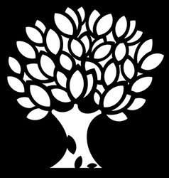 Ornaments spring Tree silhouette vector image