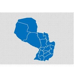 paraguay map - high detailed blue map with vector image