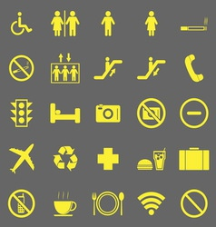 Plublic yellow icons on gray background vector
