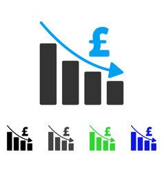 Pound recession bar chart flat icon vector