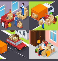 Relocation isometric concept vector
