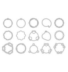 round rope frames wavy and smooth outline with vector image