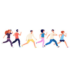 running people crowd jogging isolated runners vector image