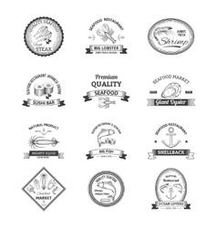 Seafood Retro Emblems vector