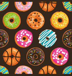 seamless pattern with bright sweet donuts vector image