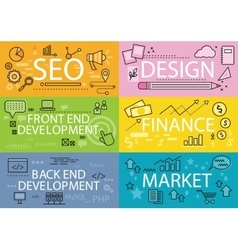 Set Banners Seo Design Finance Flat vector image