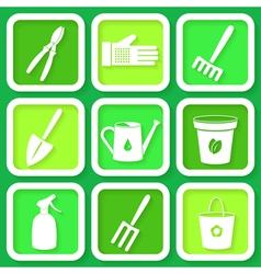 Set of 9 icons of garden instruments vector image
