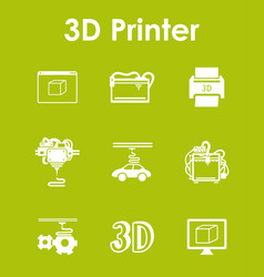 set of three d printer simple icons vector image