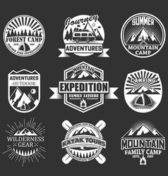 set outdoor adventure labels emblems vector image