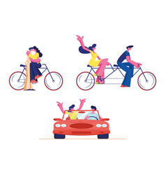 set young loving couple ride tandem bicycle vector image