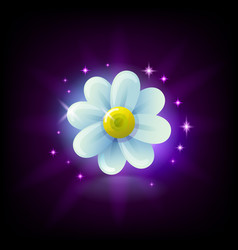 shining white chamomile flower slot icon with vector image