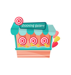 Shooting gallery with ducks and targets at vector