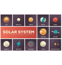 Solar system - set of flat design infographics vector