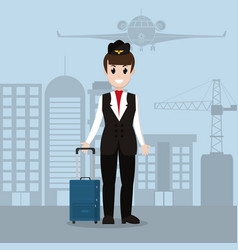 stewardess in airport vector image