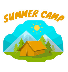 Summer camp tent vector