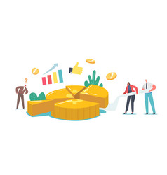 Tiny shareholder characters cutting huge money pie vector