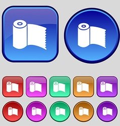 Toilet paper WC roll icon sign A set of twelve vector