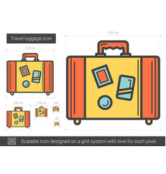 travel luggage line icon vector image