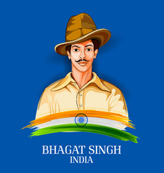 vintage india background with nation hero and vector image