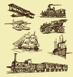 Vintage transportation drawings vector