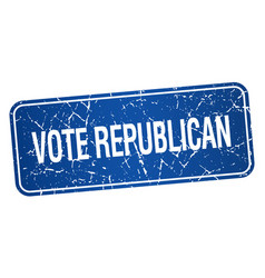 Vote republican blue square grunge textured vector