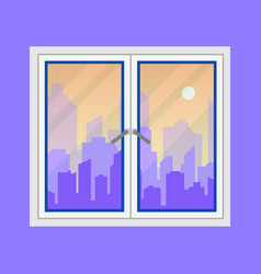 window and city view evening city skyline vector image