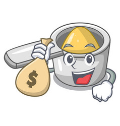 with money bag steel measuring spoons in cartoon vector image