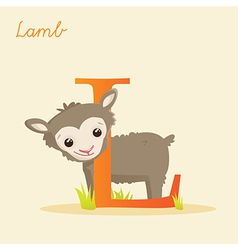 Animal alphabet with lamb vector image vector image