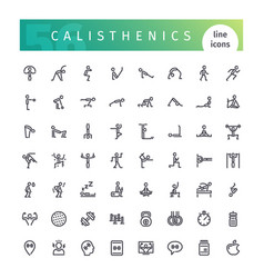 calisthenics line icons set vector image vector image