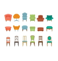 Furniture for Sitting Chairs Armchairs Stools vector image vector image