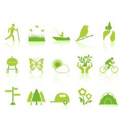 green color garden icons set vector image vector image