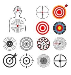 People animals dart silhouette shooting target vector image