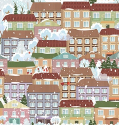 seamless texture with a winter cute houses vector image vector image
