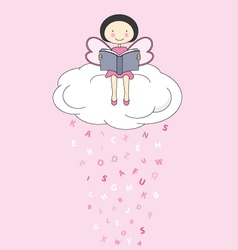 fairy on a cloud reading vector image