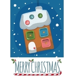 Merry christmas post card with toy house vector
