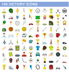 100 victory icons set flat style vector image