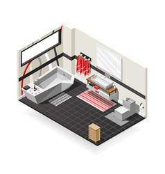 bathroom futuristic interior isometric composition vector image vector image