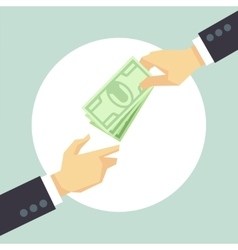 Hand giving money Donation charity payment vector image