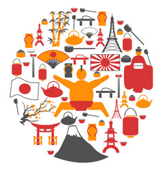 japanese collage circle symbol icons vector image vector image