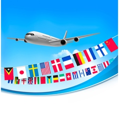 Airplane travel background with flags of different vector image