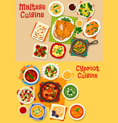 cypriot and maltese cuisine icon set food design vector image vector image