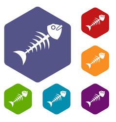 Fish bone icons set hexagon vector