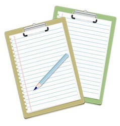 Green and brown clipboards ready to write vector image
