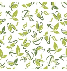 Tea cups with leaves seamless pattern background vector image vector image