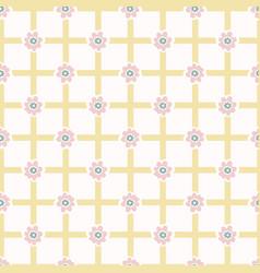 1950s style flower daisy gingham seamless vector
