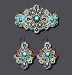 A vintage brooch of beads and earrings with pearls vector