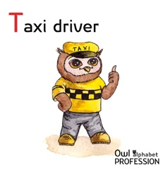 Alphabet professions Owl Letter T - Taxi driver vector image